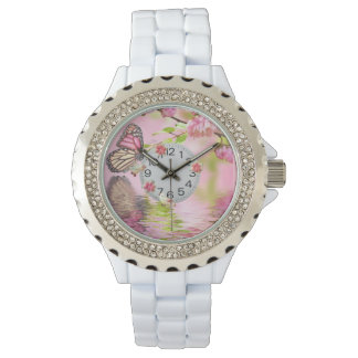 pink butterfly and flowers rhinestone watch