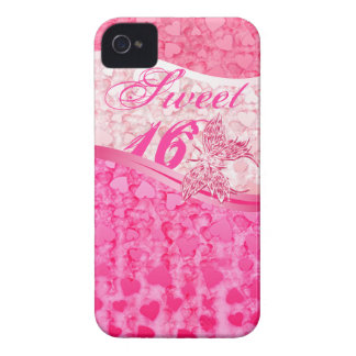 Pink butterfly and hearts in 3 pink tones sweet 16 Case-Mate iPhone 4 case