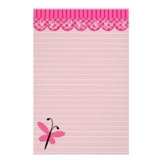Pink Butterfly and Lace Lined Stationary Stationery