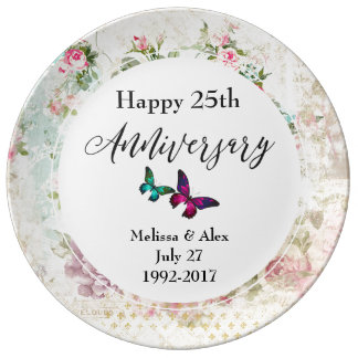 Pink Butterfly and Shabby Roses 25th Anniversary Plate