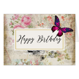 Pink Butterfly and Shabby Vintage Roses Birthday Card