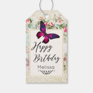 Pink Butterfly and Shabby Vintage Roses Birthday Gift Tags