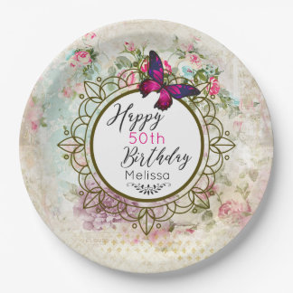 Pink Butterfly and Shabby Vintage Roses Birthday Paper Plate