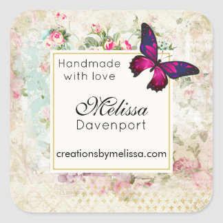 Pink Butterfly and Shabby Vintage Roses Business Square Sticker