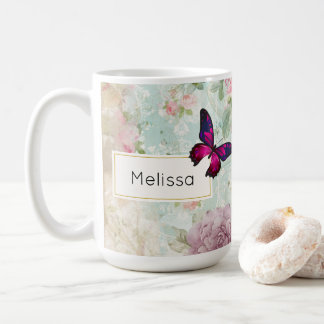 Pink Butterfly and Shabby Vintage Roses Coffee Mug