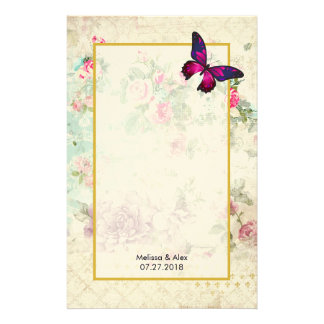 Pink Butterfly and Shabby Vintage Roses Custom Stationery