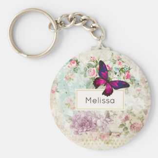 Pink Butterfly and Shabby Vintage Roses Keychain
