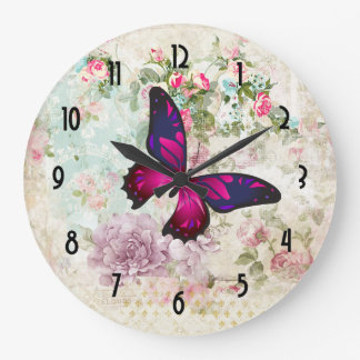 Pink Butterfly and Shabby Vintage Roses Large Clock