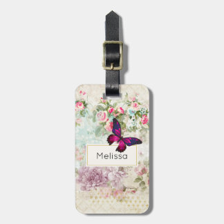 Pink Butterfly and Shabby Vintage Roses Luggage Tag