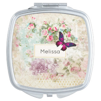 Pink Butterfly and Shabby Vintage Roses Mirror For Makeup