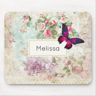 Pink Butterfly and Shabby Vintage Roses Mouse Pad