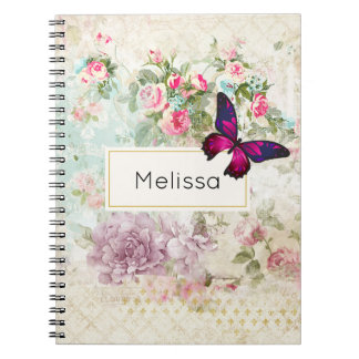 Pink Butterfly and Shabby Vintage Roses Notebook