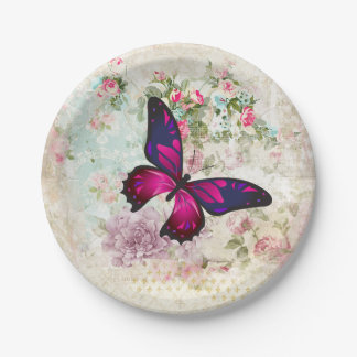 Pink Butterfly and Shabby Vintage Roses Paper Plate