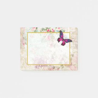 Pink Butterfly and Shabby Vintage Roses Post-it Notes