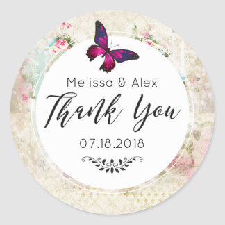 Pink Butterfly and Shabby Vintage Roses Thank You Classic Round Sticker