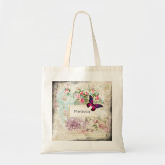 Pink Butterfly and Shabby Vintage Roses Tote Bag