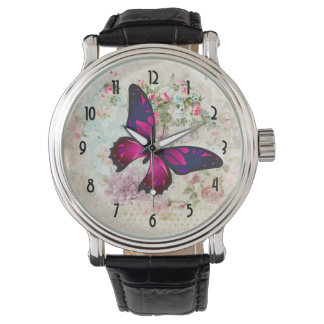 Pink Butterfly and Shabby Vintage Roses Watch