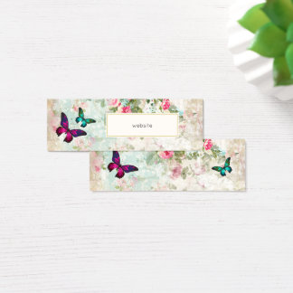 Pink Butterfly and Shabby Vintage Roses Website Mini Business Card