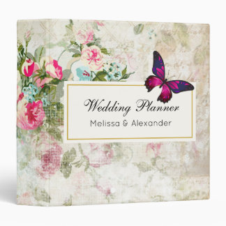 Pink Butterfly and Shabby Vintage Roses Wedding 3 Ring Binder