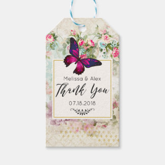 Pink Butterfly and Shabby Vintage Roses Wedding Gift Tags