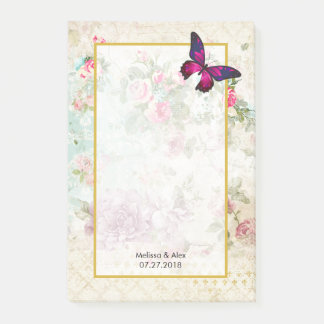 Pink Butterfly and Shabby Vintage Roses Wedding Post-it Notes