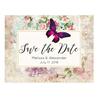 Pink Butterfly and Vintage Roses Save The Date Postcard