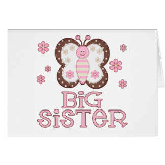 Pink Butterfly Big Sister Stationery Note Card