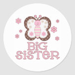 Pink Butterfly Big Sister Round Sticker