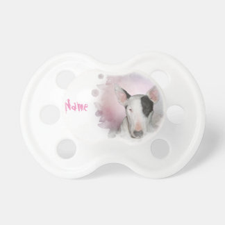 Pink Butterfly Bull Terrier 'Custom Name' Pacifier