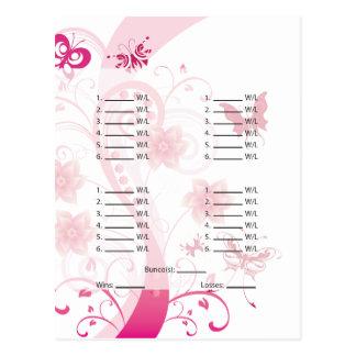 Pink Butterfly Bunco Card/Sheet Postcard