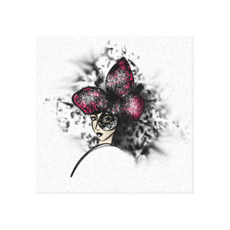 Pink Butterfly Fashionillustration Canvas Print