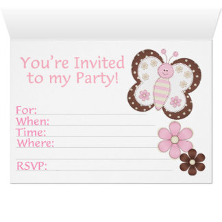Pink Butterfly First Birthday Fill-in Invitations