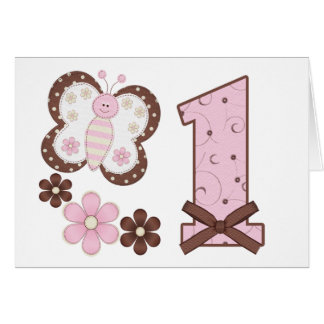 Pink Butterfly First Birthday Invitations