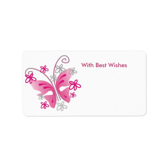Pink Butterfly Gift Tags - Best wishes