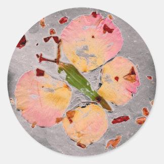Pink Butterfly grey round sticker, envelope sealer Round Sticker