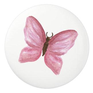pink butterfly knob ceramic knob