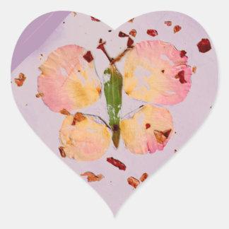 Pink Butterfly lavender hear sticker, envlp sealer Heart Sticker