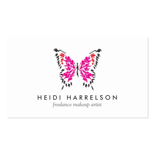 Pink Butterfly Logo II for Freelance Makeup Artist Business Cards