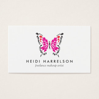 Pink Butterfly Logo II for Freelance Makeup Artist Business Card