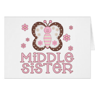 Pink Butterfly Middle Sister Note Card