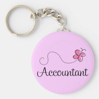 Pink Butterfly Occupation Accountant Basic Round Button Keychain