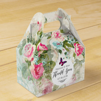 Pink Butterfly on a Shabby Vintage Collage Wedding Favor Box