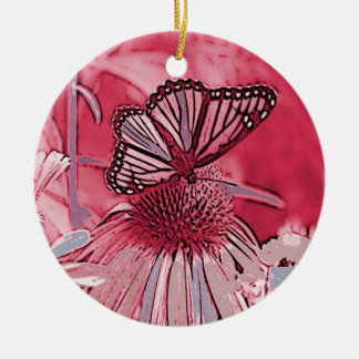 Pink Butterfly On Digital Flower Round Ceramic Ornament