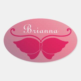 Pink Butterfly On Soft Pretty Background Oval Sticker