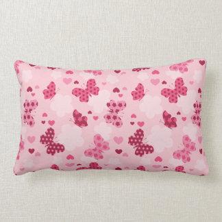 Pink butterfly pattern Lumbar pillow