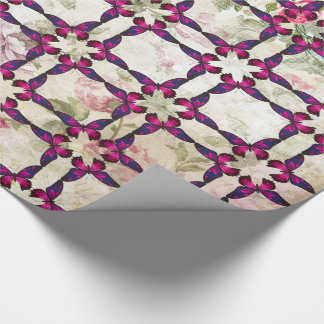 Pink Butterfly Pattern on Shabby Vintage Roses Wrapping Paper