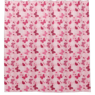 Pink butterfly pattern Shower curtain