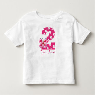 Pink Butterfly Personalized 2nd Birthday Shirt