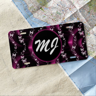 Pink Butterfly Personalized License Plate