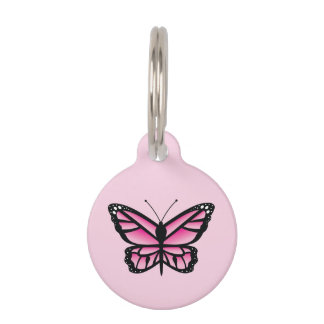 Pink Butterfly Pet ID Tag